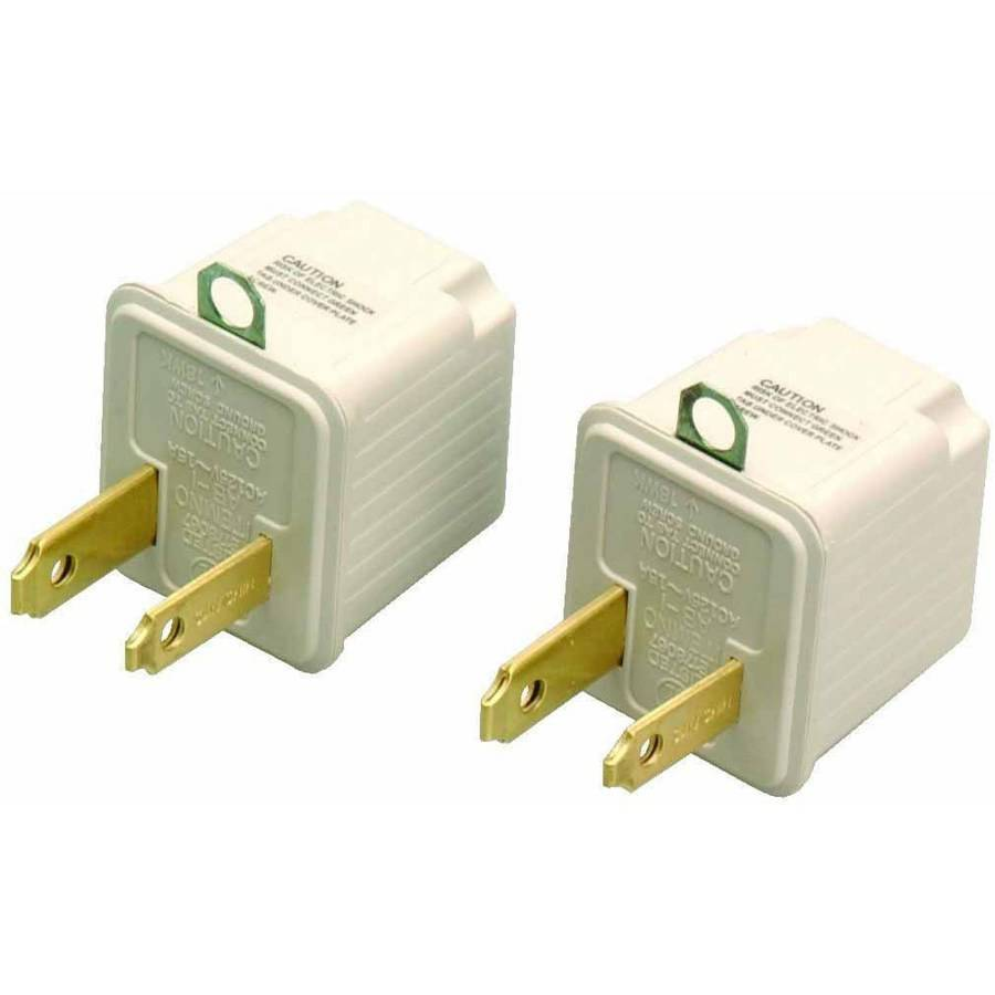 Coleman Cable 9901 3-Prong To 2-Prong Adapter, Grounding Outlet Converter, 2-Pack