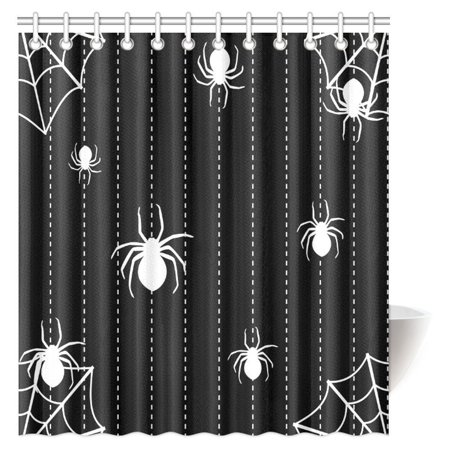 MYPOP Halloween Decor Shower Curtain, Spider Web Icon Background Abstract Form Halloween Scary Evil Themed Fabric Bathroom Shower Curtain Set, 66 X 72 Inches (Scary Halloween Themed Backgrounds)