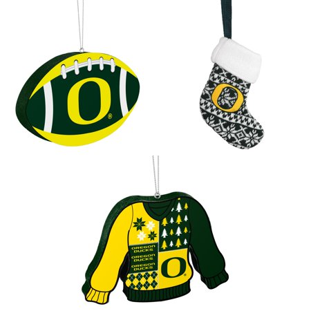NCAA Oregon Ducks Foam Christmas Ball Ornament ORNAMENT STOCKING KNIT Ugly Sweater Bundle 3 Pack By Forever Collectibles