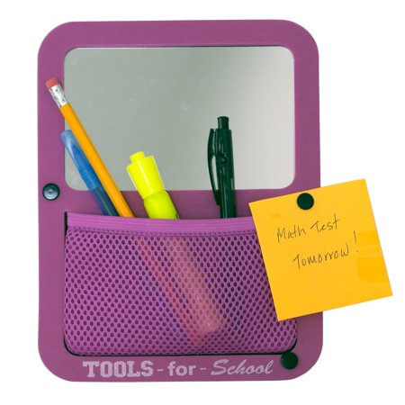 - Tools for School Magnetic Locker Mirror with Mesh Pocket Organizer