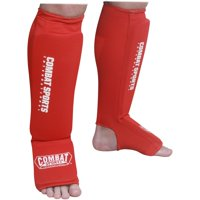 Combat Sports Washable MMA Elastic Cloth Shin & Instep Padded Guards XLarge Red
