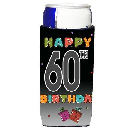 Happy 60th Birthday Ultra Beverage Insulators for slim cans CJ1125MUK ()