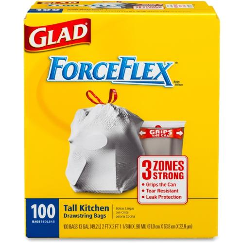 "Glad ForceFlex Tall Kitchen Drawstring Trash Bags - 13 gal - 24"" x 25 1/8"" - .90 mil thickness - 100/Box - White"