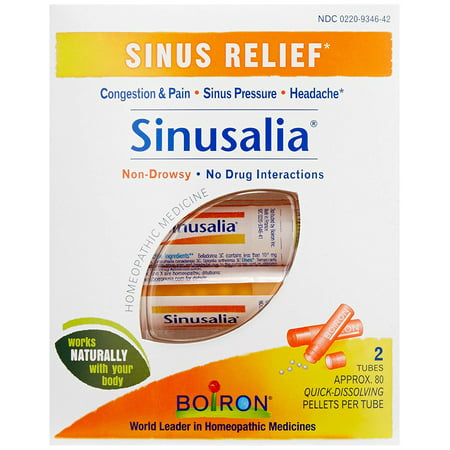 Sinusalia, Pack of 2 80-Pellet Tubes, Homeopathic Medicine for Sinus Relief, Sinusalia Sinus Relief Tablets temporarily relieve nasal congestion, sinus.., By