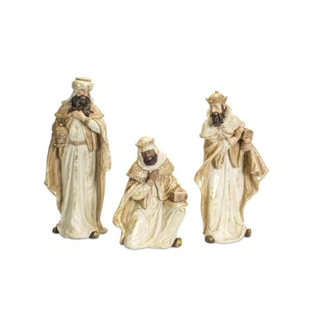 Set of 3 White and Ivory Distress Finished Three Wiseman Nativity Christmas Figures 19