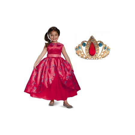 Toddlers And Tiaras Halloween Costume Dress (Disney Elena of Avalor Girls Dress and Tiara)