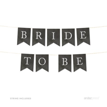 Bride To Be Vintage Chalkboard Wedding Pennant Party Banner (Bride To Be Banner)