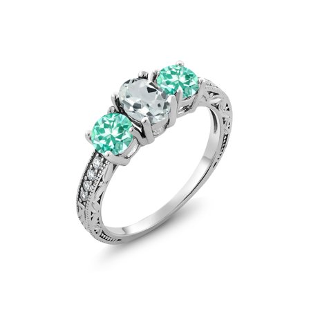 Blue Apatite Ring - 925 Sterling Silver 1.86 Ct Oval Sky Blue Aquamarine Blue Apatite 3-Stone Ring