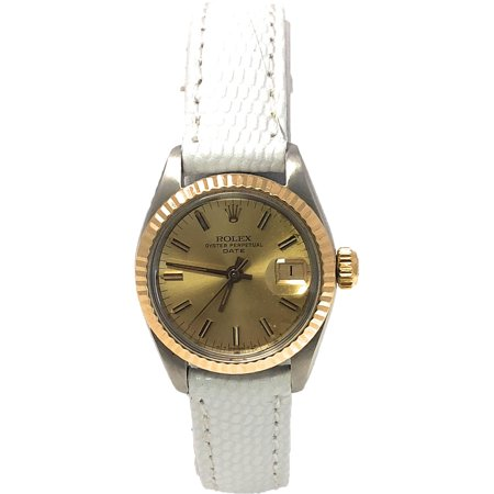 Rolex Date 6917 Champagne Stick dial and a Yellow Gold Fluted Bezel (Certified Pre-Owned)
