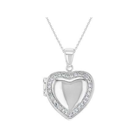 Rhodium Plated Clear Crystal Love Heart Photo Locket Pendant Necklace 18""