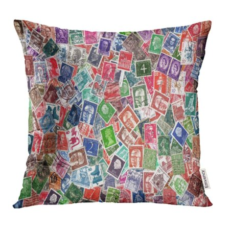 Definitive Postage Stamps - CMFUN Europe Circa 1950 2000 of Definitive European Postage Stamps Including from Germany Pillow Case Pillow Cover 16x16 inch Throw Pillow Covers