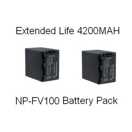 2 Sony NP-FV100 5 Hour Replacement Batteries For The Sony DCR-SX63 DCR-SX83 DCR-SR68 DCR-SR88 SONY HDR-CX110 HDR-CX150 HDR-CX300 HDR-CX350 HDR-CX500V HDR-CX550V HDR-CXR150 XR350V XR550V - Hour Replacement Battery