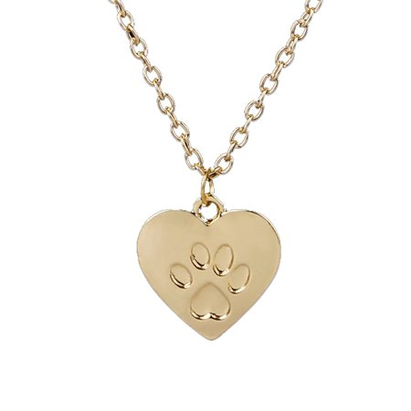 Popular Heart Shaped Dog Footprint Necklace Animal Pendant Necklace Jewelry