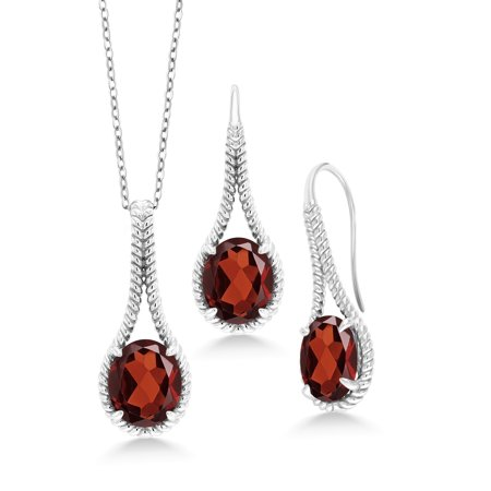 16.80 Ct Oval Red Garnet 925 Sterling Silver Pendant Earrings Set With Chain
