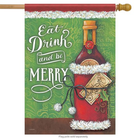 "Image of ""Drink and Be Merry House Flag Decorative Double Sided Christmas 28"""" x 40"""""""