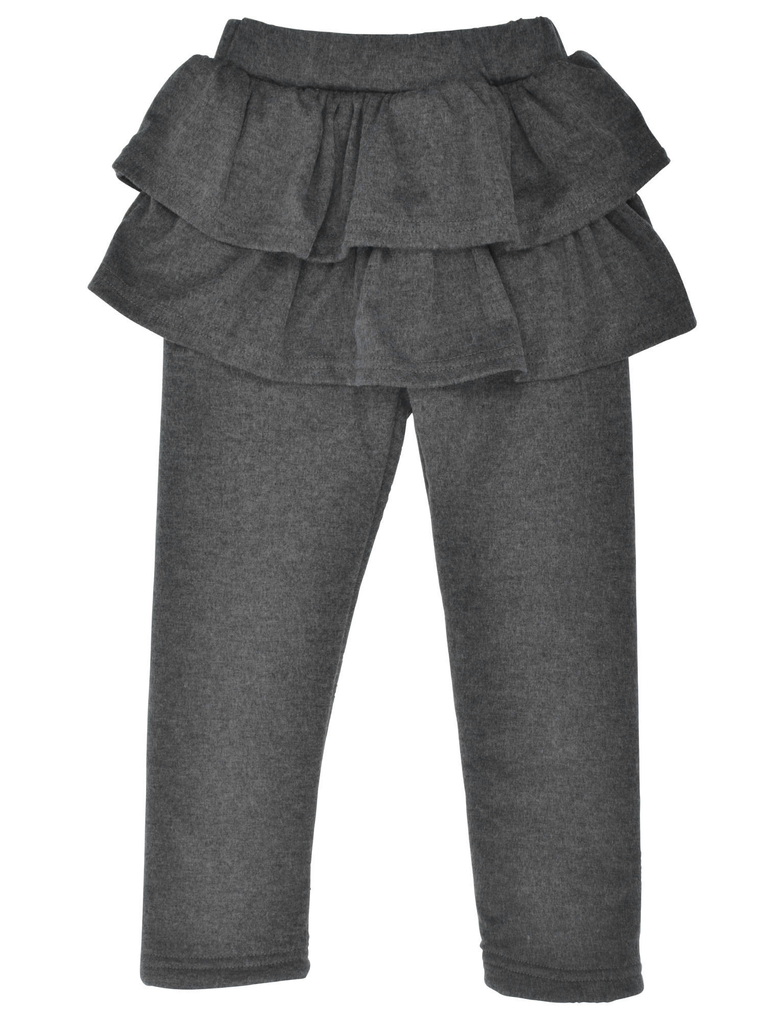 Kids' Solid Footless Tutu Legging with Ruffled Skirt Culottes,D.Grey,4