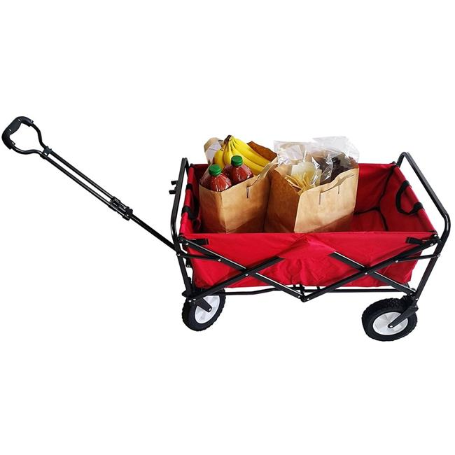 Seco 220 lbs Heavy Duty Folding Utility Wagon Wheelbarrow Garden Cart Sports Cart Shopping Buggy, Red
