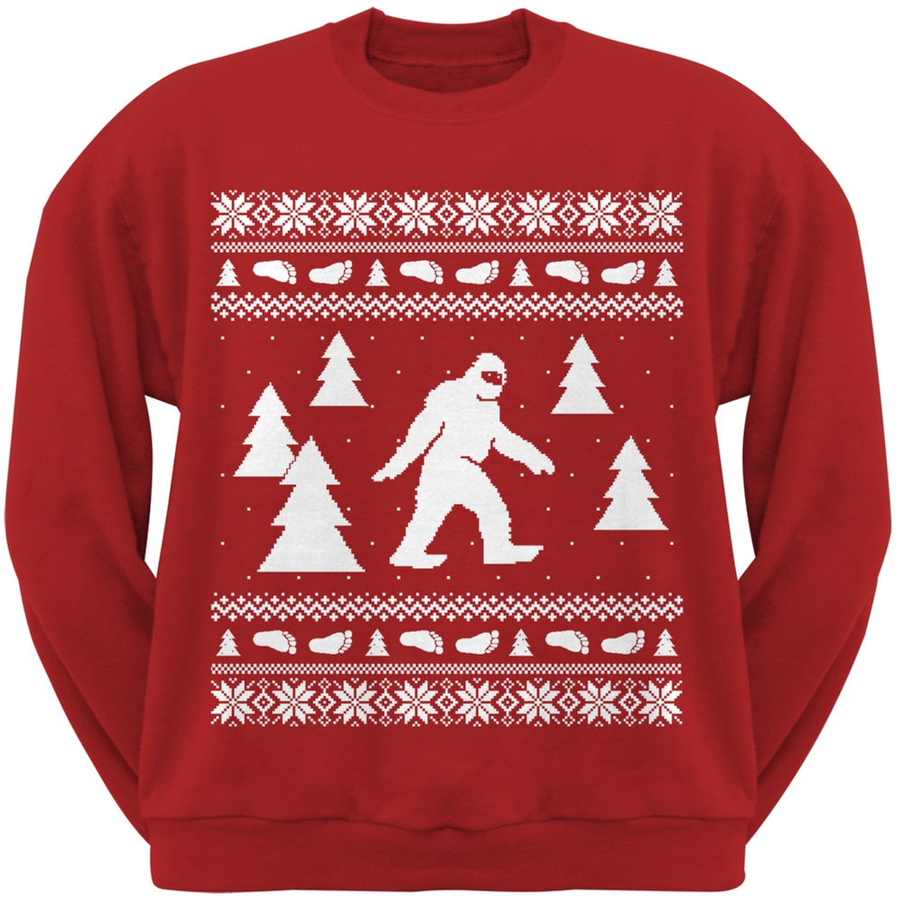 Product Image Sasquatch Ugly Christmas Sweater Red Crew Neck Sweatshirt