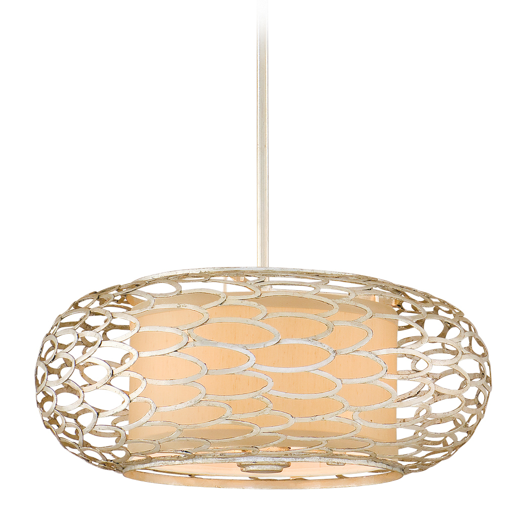 Corbett Lighting 127-43 Three Light Hanging Pendant From The Cesto Collection, Modern Silver