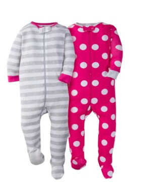 Gerber Baby Girl Footed Snug Fit Unionsuit Pajamas, 2-Pack
