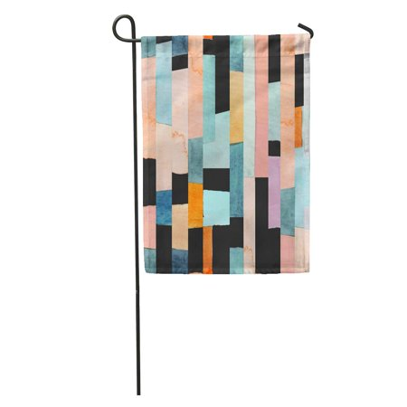 JSDART Watercolor Geo Geometric Multicolor Stripes and Teals Abstract Pattern Contemporary Garden Flag Decorative Flag House Banner 28x40 inch - image 1 of 2