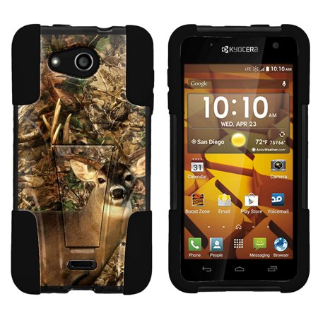 Kyocera Hydro Wave and Hydro Air C6740 STRIKE IMPACT Dual Layered Shock Resistant Case with Built-In Kickstand by Miniturtle® - Deer Hunting Camo