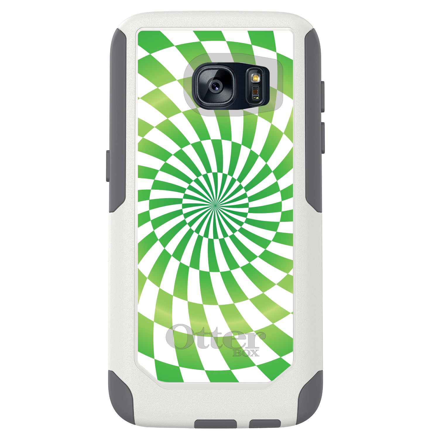 DistinctInk™ Custom White OtterBox Commuter Series Case for Samsung Galaxy S7 - Green White Swirl Geometric