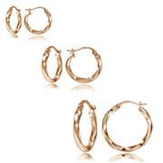 Set of 3 Rose Gold Tone over Sterling Silver 2mm Twist Hoop Earrings, 20mm, 25mm, 35mm