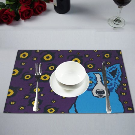 mypop rodrigue blue dog kitchen table mat placemats for dining table 12x18 inches - Blue Dog Kitchen
