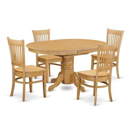 East West Furniture Avon 5 Piece Pedestal Oval Dining