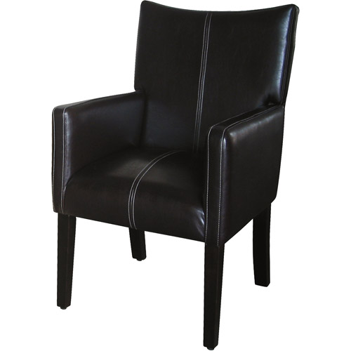 Kinfine Stitched Armchair with Sloped Back, Dark Brown Faux Leather by