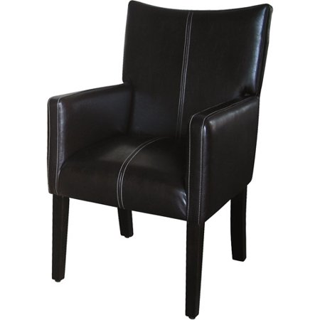 Kinfine Stitched Armchair With Sloped Back  Dark Brown Faux Leather