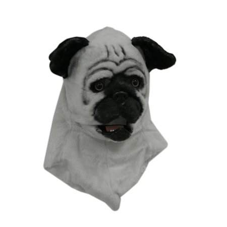 White Pug Dog Moving Mouth Faux Fur Adult Costume Mask
