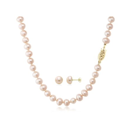Pink Cultured Freshwater Pearl Necklace and Earring Set In 14K Yellow Gold - image 5 of 5