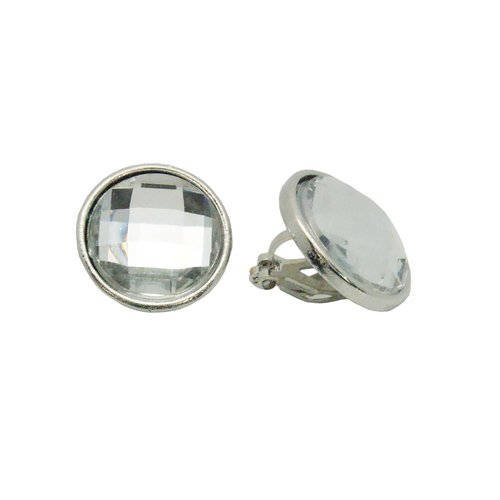 Silver-Tone Crystal Stone Clip-On Earrings