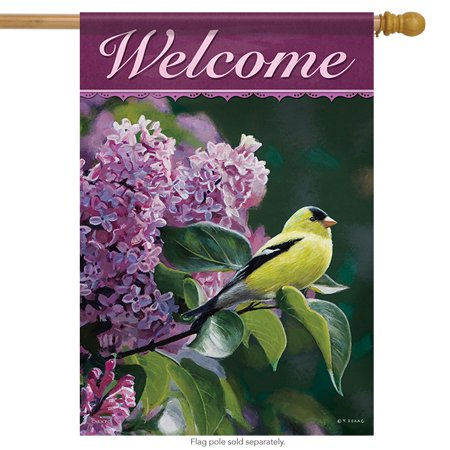- Golden Song Spring Welcome House Flag Double Sided Birds Floral 28