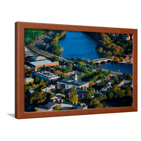 AERIAL VIEW of Cambridge and Anderson Memorial Bridge leading to Weld Boathouse, Harvard on Char... Framed Print Wall (Cambridge Welding)