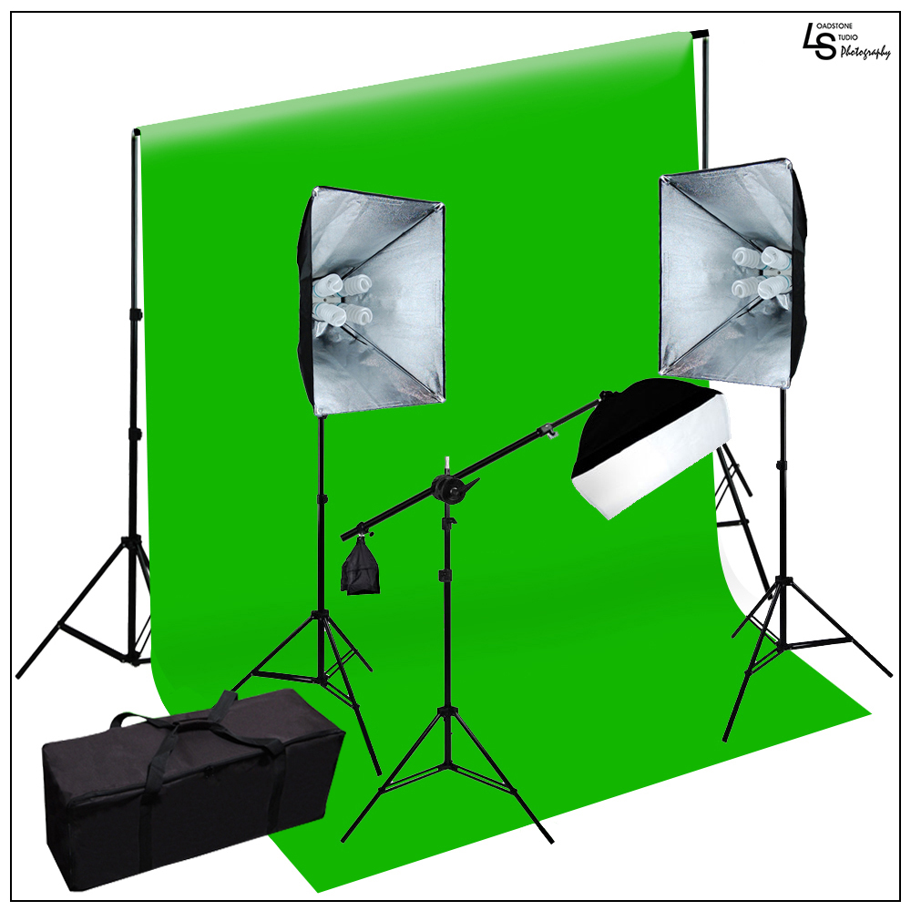 2100W Photo Video Softbox Lighting Kit Chroma Key Green Background Support Stand and Carry Case by Loadstone Studio WMLS0571
