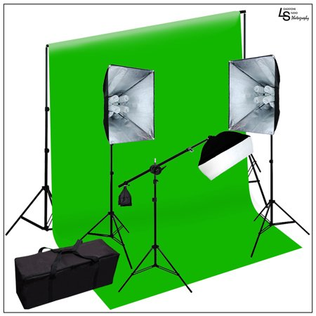 Chroma Key Kits - 2100W Photo Video Softbox Lighting Kit Chroma Key Green Background Support Stand and Carry Case by Loadstone Studio WMLS0571