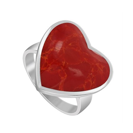 Gem Avenue 925 Sterling Silver Red Coral Heart Shape Ring