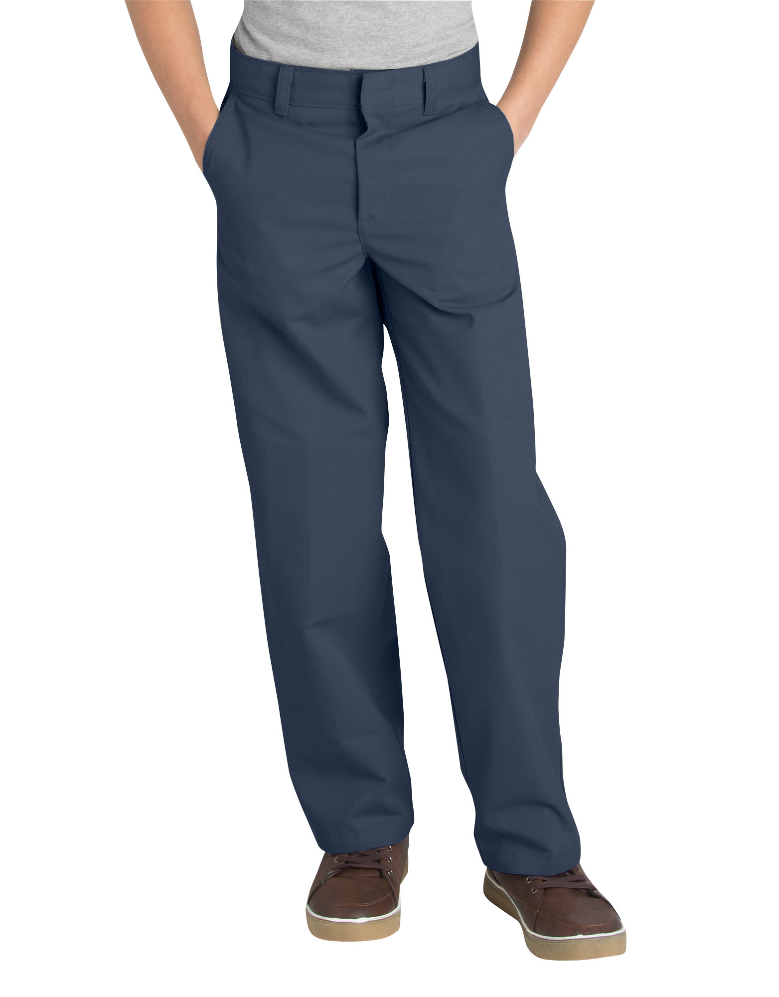 Boys' Classic Fit Uniform Straight Leg Flat Front Pants (Husky Boys)