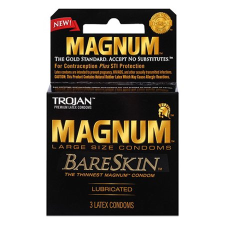 Smart Parts Barrel Condom - Trojan Magnum Bareskin Lubricated Latex Condoms, 3 Ea