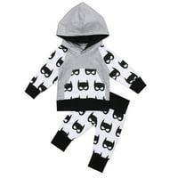 Fashion Newborn Kids Baby Boy Hooded Tops Pants Batman Outfits Set Clothes 0-5T