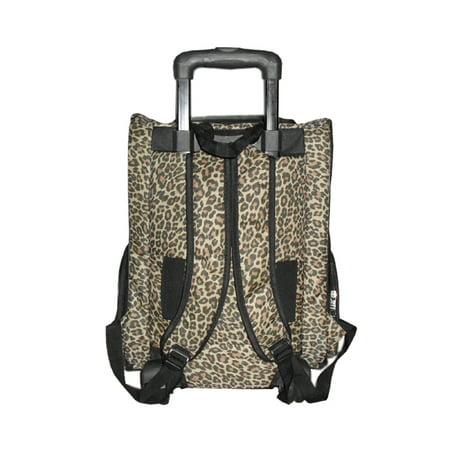 Brown Leopard Carrier Bag On Wheels For Pet Dog Cat