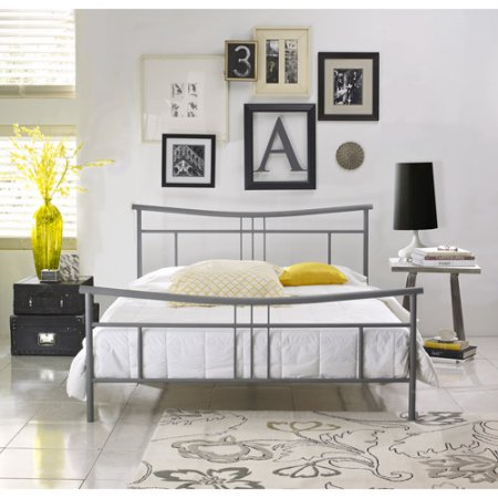Premier Annika Metal Platform Bed Frame Queen with Bonus Base Wooden