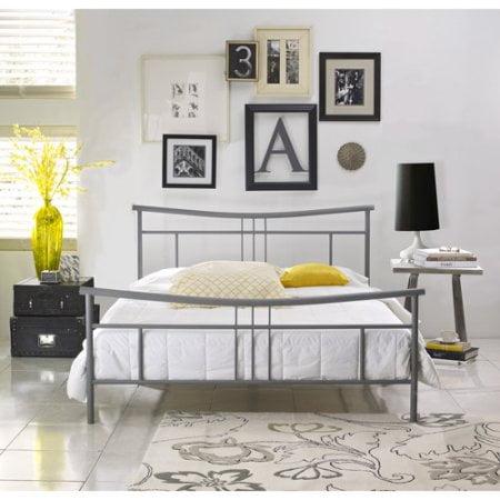 Premier Annika Metal Platform Bed Frame Queen with Bonus Base Wooden Slat System