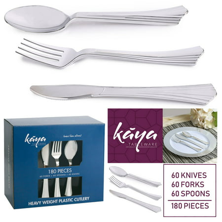 Kaya Collection - Disposable Plastic Silver Silverware Cutlery, Shiny Metallic Flatware 60 Forks, 60 Knives and 60 Spoons Groove Design
