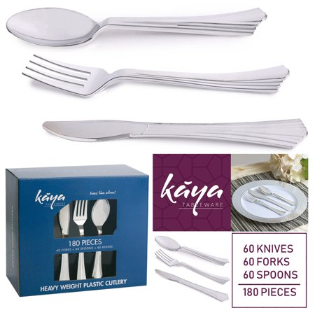 Kaya Collection - Disposable Plastic Silver Silverware Cutlery, Shiny Metallic Flatware 60 Forks, 60 Knives and 60 Spoons Groove Design - Plastic Silver Silverware