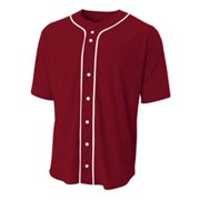 A4 Men's Full Button Baseball Top