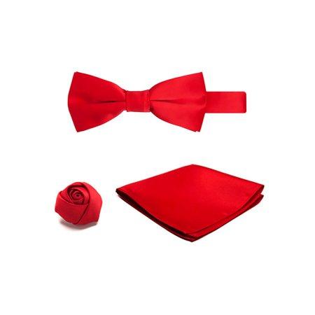 Boys Pretied Banded Bowtie Hanky Rose Lapel Flower 3 pc Set
